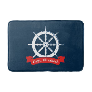 Personalised name, white nautical navy ship wheel, bath mat