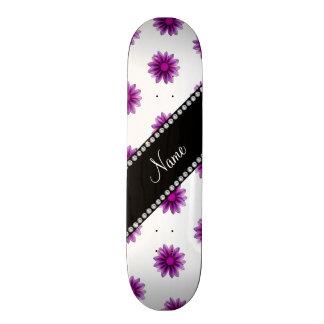 Personalised name white purple pink flowers 21.6 cm old school skateboard deck