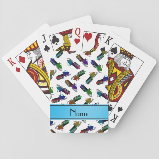 Personalised name white snowmobiles poker deck