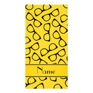 Personalised name yellow black glasses photo card template