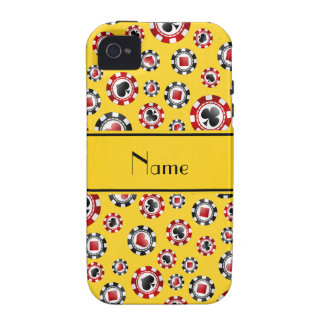 Personalised name yellow poker chips iPhone 4/4S cover