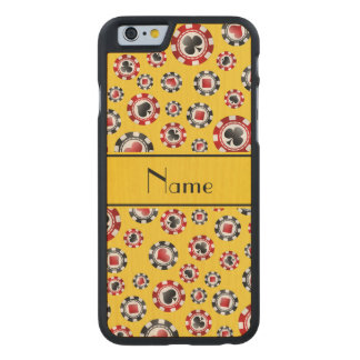 Personalised name yellow poker chips carved® maple iPhone 6 slim case
