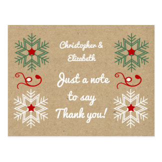 Personalised names Christmas Thank you snowflakes Postcard