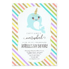 Personalised Narwhal Themed Girls Birthday Party Card