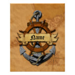 Personalised Nautical Anchor And Wheel Poster