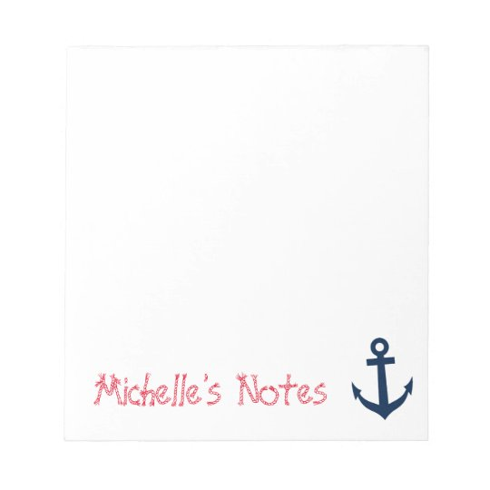 Personalised nautical boat anchor writing notepads