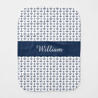 Personalised Nautical Burp Cloth