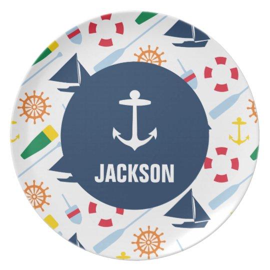 Personalised Nautical Kids Anchor Melamine Plate