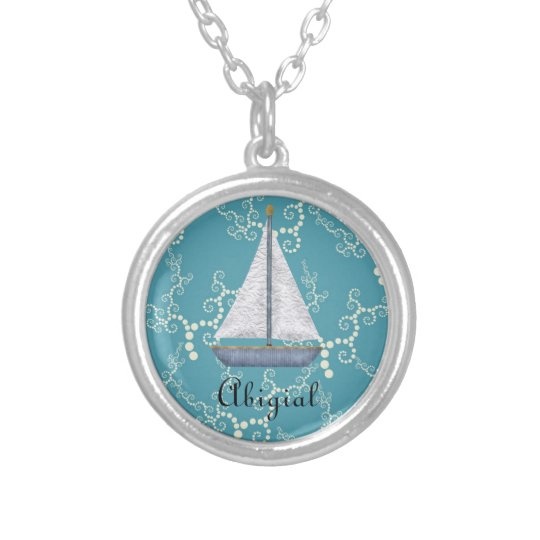 Personalised Nautical Sailboat and Swirling Water Silver Plated Necklace