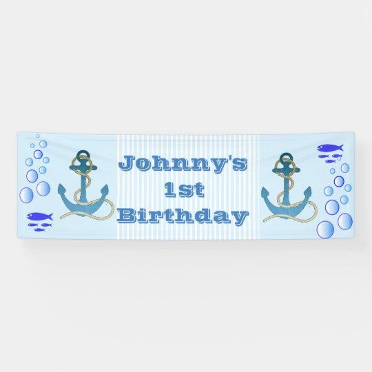 Personalised Nautical Themed 1st Birthday Banner