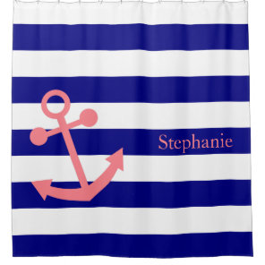 Personalised Navy Blue and Blush Pink Nautical Shower Curtain