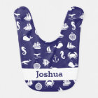 Personalised Navy Blue Maritime Nautical Bib