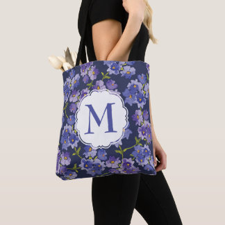 Personalised Navy Watercolour Flowers Tote Bag