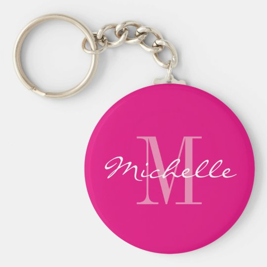 Personalised neon pink monogram button keychain