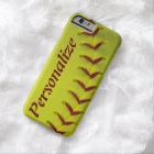 Personalised Neon Yellow Softball Barely There iPhone 6 Case