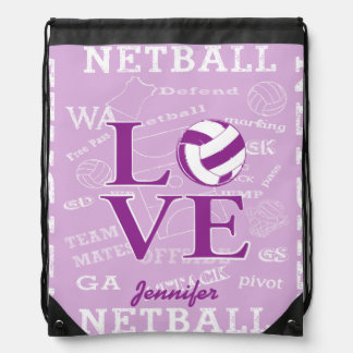 Personalised Netball Drawstring Bag