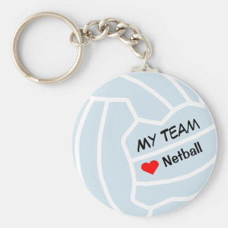 Personalised Netball Theme  Ball Design Basic Round Button Key Ring