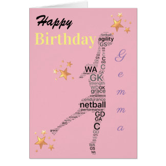 Personalised Netball Theme Birthday Card