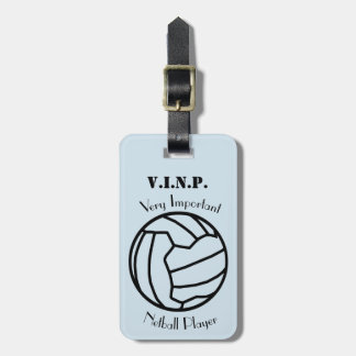 Personalised Netball Themed Ball design Luggage Tag