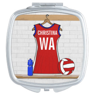 Personalised Netball uniform Travel Mirror