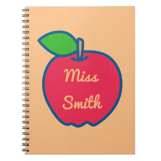 Personalised Notebook Any Name Apple Teacher