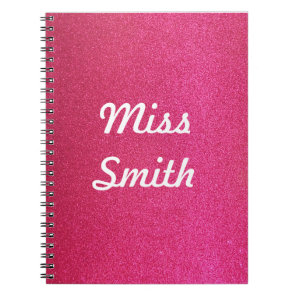 Personalised Notebook Any Name Deep Pink Sparkle