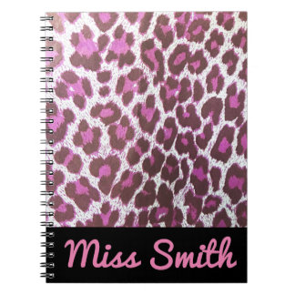 Personalised Notebook Any Name Pink Leopard Print
