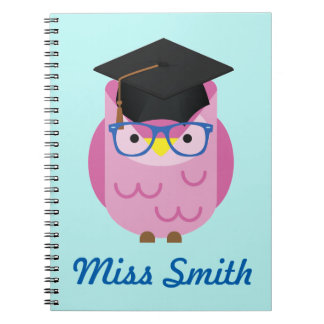Personalised Notebook Any Name Pink Owl Teacher
