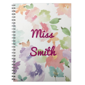 Personalised Notebook Any Name Watercolour Flowers