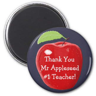 Personalised Number One Teacher's Apple Painting 6 Cm Round Magnet