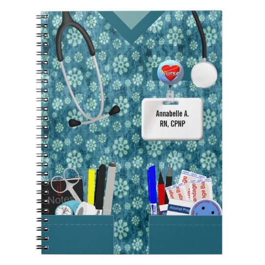 Personalised Nurse Notebook Flower Print