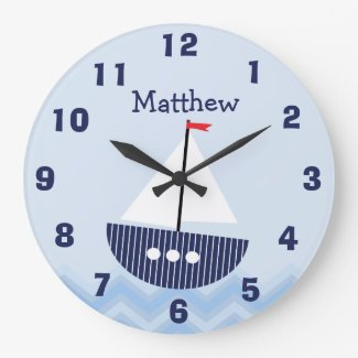Personalised Nursery Nautical Wall Clock