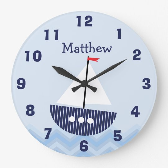 Personalised Nursery Nautical Wall Clock