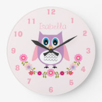 Personalised Nursery Owl Wall Clock
