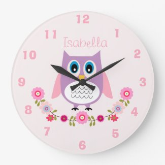 Personalised Nursery Owl Wall Clock