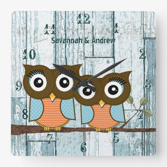 Personalised Old Rustic Aqua Wood Love Bird Owls