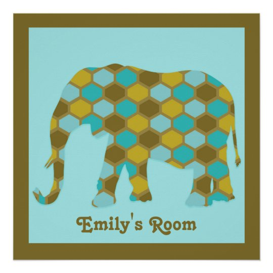 Personalised Olive Green Blue Gold Elephant Poster