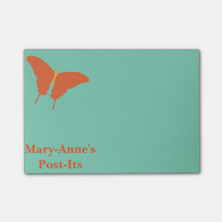 Personalised Orange Butterfly Post-it Notes