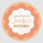 Personalised Orange Floral Dot Canning Stickers