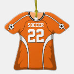 Personalised Orange/White Soccer Jersey 22 V1