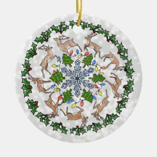 Personalised Ornament with Reindeer, Holly & Snow
