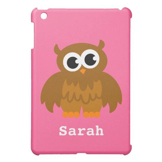 Personalised owl cartoon Ipad mini case | Pink