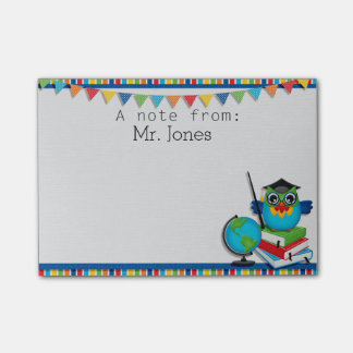 Personalised Owl on Books Teachers Post It Notes