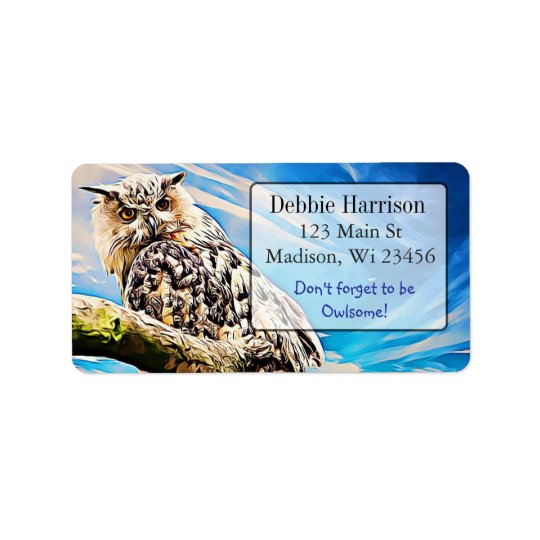 Personalised Owl Quote Return Address Labels