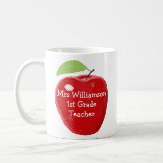 Personalised Painted Apple For Teacher Basic White Mug