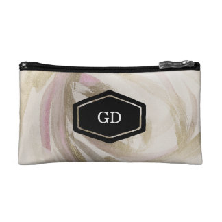 Personalised painted gold swirl cosmetics case