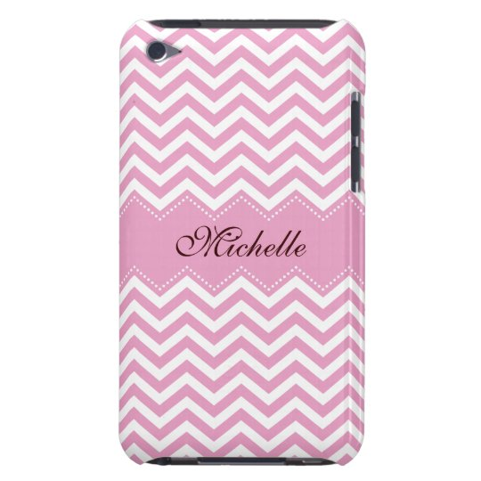 Personalised pale pink chevron pattern ipod case