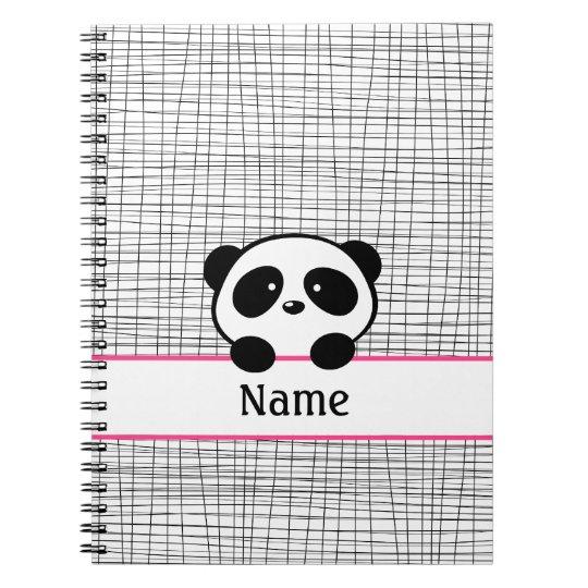 Personalised Panda Bear Pink Black Notebook
