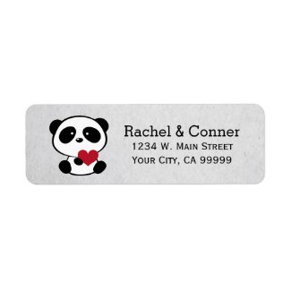 Personalised Panda Love Wedding Address Labels