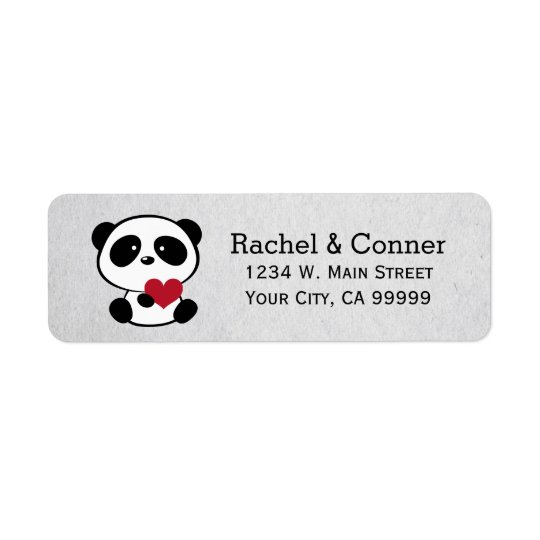 Personalised Panda Love Wedding Address Labels